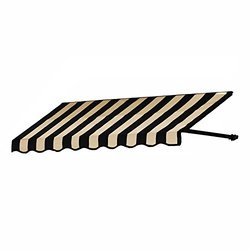 "Awntech 24""x42"" 10 ft. Dallas Retro Window/Entry Awning - Black/Tan Stripe"