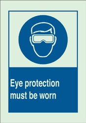"Brady 10x14"" Eye Protection Must Be Worn w/ Picto Plastic Protection Sign"
