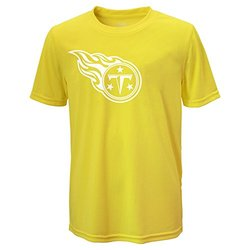 NFL Tennessee Titans Boys Performance Tee - Neon Yellow / Large(14-16)