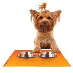 "Kess InHouse 24""x15"" Frederic Levy-Hadida ""Bubbling Red"" Pet Feeding Mat"