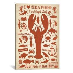 "iCanvasART 40"" x 26"" 0.75"" Deep I Love Seafood Canvas Print"