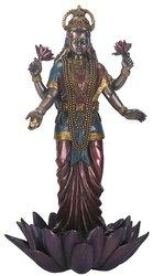 9.5 Inch Standing Lakshmi Eastern Statue Figurine, Multicolored