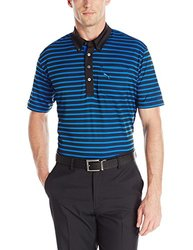 Puma Golf Men's Stripe Pocket Polo Shirt, Strong Blue/Black, Medium