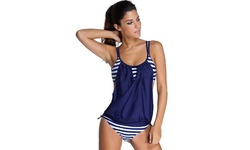 Striped Tankini Swimsuit - Blue - Size: XL