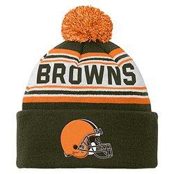 Cleveland Browns Youth Striped Jacquard Cuffed Knit Hat w/ Pom pom