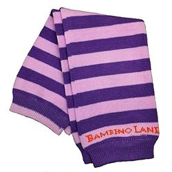 Bambino Land Organic Cotton Baby Leg Warmers - Berry/Purple Stripes