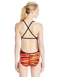 Speedo Women's Got You Cross Back Swimsuit, Orange, 38