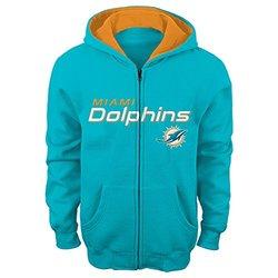 """NFL Miami Dolphins 4-7 """"Stated"""" Full Zip Hoodie, Medium, Aqua"""