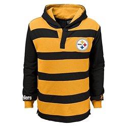 NFL Pittsburgh Steelers Youth Boys 8-20 Long Sleeve Striped Hoodie, Youth Medium (10/12), Black/Gold