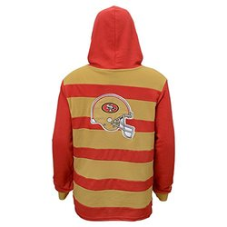 NFL San Francisco 49ers Youth Boys 8-20 Striped Hoodie -Crimson -Med 10/12