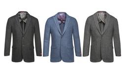 Renoir Men's Classic Fit 100% Wool Blazer: Charcoal Black/44r