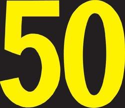 "Brady 50015,  Preprinted Kva Marker , 2 7/8"" Height x 4 3/4"" Width, Yellow on Black, Legend ""50""  (25 per Package)"