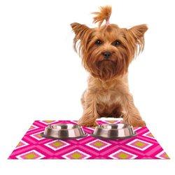 Kess InHouse Nicole Ketchum Moroccan Hot Pink Tile Feeding Mat