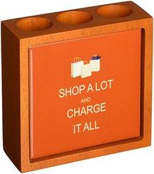 Rikki Knight Shop A Lot & Charge it All Orange Design  Inch Tile Wooden Tile Pen Holder