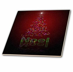 3dRose ct_35995_2 Christmas Design with Star Glow Tree and Noel on a Dark Burgundy Background with Reflection-Ceramic Tile, 6-Inch