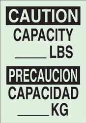 "Brady 90744 Glow-In-The-Dark Plastic Glow-In-The-Dark Safety Sign, 14"" X 10"", Legend ""Capacity __Lbs/Capacidad ___Kg"""