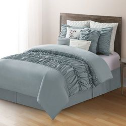 Victoria Classics Oversized Pintucked Comforter Set 10Pcs - Blue - Size: K