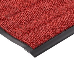 """Notrax Vinyl 139 Boulevard Entrance Mat, for Upscale Entrances, 3' Width x 5' Length x 3/8"""" Thickness, Red/Black"""
