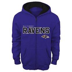 "NFL Baltimore Ravens 4-7 ""Stated"" Full Zip Hoodie, Rav Purple, Small"