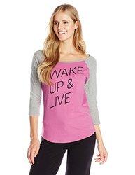 Life is good Women's Sandlot Sleep Wake Up Tee, Fresh Raspberry, Medium