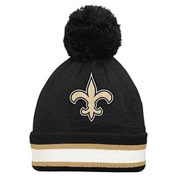 NFL New Orleans Saints Youth Cuffed Knit Hat with Pom -Black
