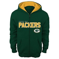 """NFL Green Bay Packers 4-7 """"Stated"""" Full Zip Hoodie, Small, Hunter"""