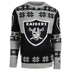 NFL Oakland Raiders Youth Boys 8-20 Long Sleeve Ugly Sweater, Youth Large (14/16), Black/Grey