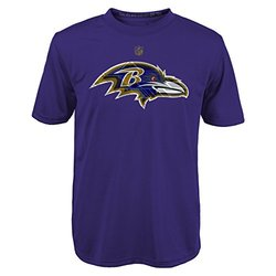 NFL Baltimore Ravens Boys Short Sleeve Dri-Tek Tee - Regal Purple - Size:L