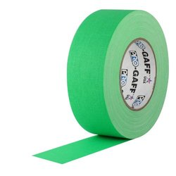 """3"""" Width ProTapes Pro Gaff Premium Matte Cloth Gaffer's Tape With Rubber Adhesive, 50 yds Length x, Fluorescent Green (Pack of 16)"""