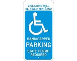 "Brady 115252 CT Handicap Parking Sign, 24"" x 12"", White/Blue"