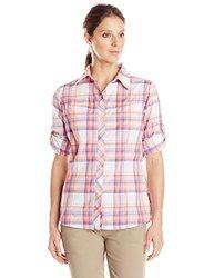 Columbia Women's Insect Blocker Plaid Long Sleeve Shirt, Tropic Pink, X-Large