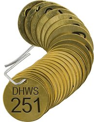 """Brady  87361 1 1/2"""" Diameter, Stamped Brass Valve Tags, Numbers 251-275, Legend """"DHWS"""" (Pack of 25 Tags)"""