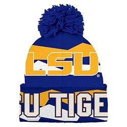 NCAA Youth Boys 8-20 LSU Tigers Cuffed Knit w/Pom Hat, 1S