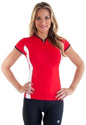 "Alii Lifestyle Women's ""Antoinetta"" Cap Sleeve Mandarin Collar Bike Jersey, Cherry, Small"