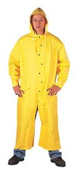"""Liberty DuraWear PVC/Polyester 2-Piece Riding Slicker with Detachable Hood, 60"""" Length, 0.35mm Thick, Large, Yellow (Case of 10)"""