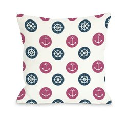 "Bentin Home Decor Anchor Wheel Polka Dot Throw Pillow by OBC, 16""x 16"", White/Pink/Blue"
