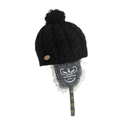 Women's Dolly Dagger Faux Fur Knit Earflap Pom Hat - Black - Size: One