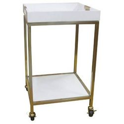 """Threshold 18"""" x 18"""" Bar Cart with Square Trays - White"""