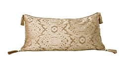 Marlo Lorenz Regina Damask Tassel Pillow Corded Back Faux Silk - Cream
