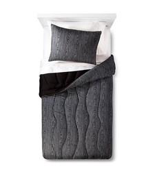 Pillowfort Faux Bois 2pc Zig Zag Comforter Set - Black/Gray - Sz: Twin