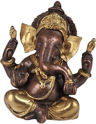 Exotic India Baby Ganesha w/ Large Ears Brass Statue - Brown / Golden Hues