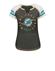 NFL Miami Dolphins Women's Raglan Split Neck T-Shirt - Multi - Size: S