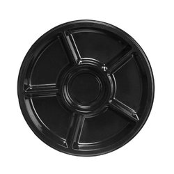 "Party Essentials 1224617T Soft Plastic Round Divided Tray, 12"" Diameter, Black (Case of 24)"