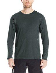 SWRVE Men's Cotton/Modal Long Sleeve Crew Tee, Medium, Dark Grey