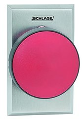 "Schlage Electronics 625RD Heavy Duty Pushbutton, 2-3/4"" Mushroom Button, Plate in Satin Chrome Finish, Red Button Color"