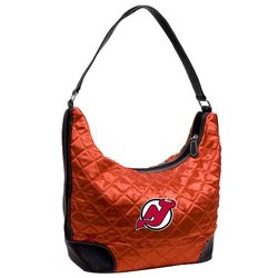 Littlearth Women's NHL New Jersey Devils Team Color Quilted Hobo Handbag