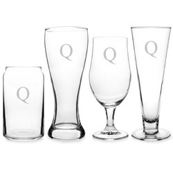Cathy's Concepts Monogram pc. Specialty Beer Glass Set 4, Q