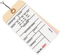 Prewired Manila Inventory Tags, 3-Part Carbonless, 0-499, Box Of 500