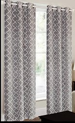 "CHD Home Textiles 38"" x 84"" Camisiea Curtain Panel - Grey/White"