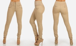 High Waisted Elastic Band Stretchy Skinny Pants Style - Beige - Size: 11
